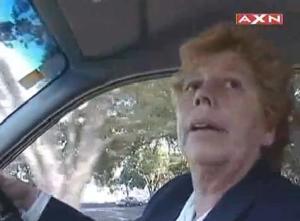 woman terrified