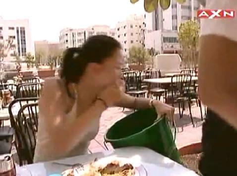 Asian girl puking