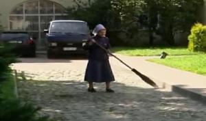 woman sweep