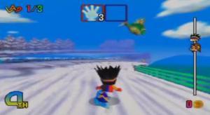 snowboard kids flying fish